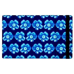 Turquoise Blue Flower Pattern On Dark Blue Apple iPad 3/4 Flip Case