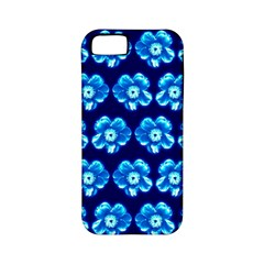 Turquoise Blue Flower Pattern On Dark Blue Apple iPhone 5 Classic Hardshell Case (PC+Silicone)