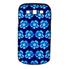 Turquoise Blue Flower Pattern On Dark Blue Samsung Galaxy S III Classic Hardshell Case (PC+Silicone)