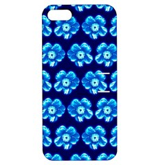Turquoise Blue Flower Pattern On Dark Blue Apple iPhone 5 Hardshell Case with Stand