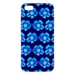 Turquoise Blue Flower Pattern On Dark Blue Apple iPhone 5 Premium Hardshell Case