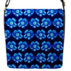 Turquoise Blue Flower Pattern On Dark Blue Flap Messenger Bag (S)