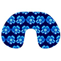 Turquoise Blue Flower Pattern On Dark Blue Travel Neck Pillows