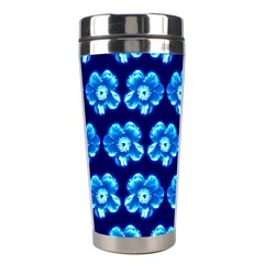 Turquoise Blue Flower Pattern On Dark Blue Stainless Steel Travel Tumblers