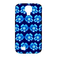 Turquoise Blue Flower Pattern On Dark Blue Samsung Galaxy S4 Classic Hardshell Case (PC+Silicone)
