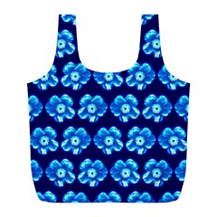 Turquoise Blue Flower Pattern On Dark Blue Full Print Recycle Bags (L)