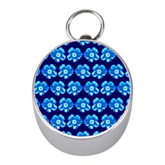 Turquoise Blue Flower Pattern On Dark Blue Mini Silver Compasses