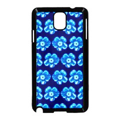 Turquoise Blue Flower Pattern On Dark Blue Samsung Galaxy Note 3 Neo Hardshell Case (Black)