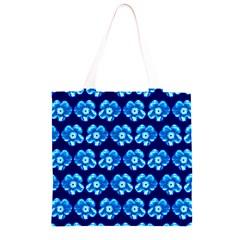 Turquoise Blue Flower Pattern On Dark Blue Grocery Light Tote Bag