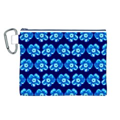 Turquoise Blue Flower Pattern On Dark Blue Canvas Cosmetic Bag (L)