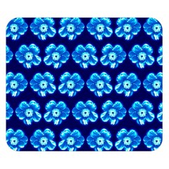 Turquoise Blue Flower Pattern On Dark Blue Double Sided Flano Blanket (Small)