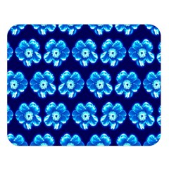 Turquoise Blue Flower Pattern On Dark Blue Double Sided Flano Blanket (Large)