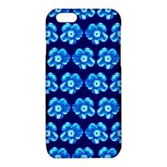 Turquoise Blue Flower Pattern On Dark Blue iPhone 6/6S TPU Case
