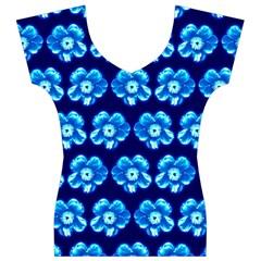 Turquoise Blue Flower Pattern On Dark Blue Women s V-Neck Cap Sleeve Top