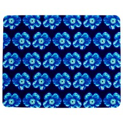 Turquoise Blue Flower Pattern On Dark Blue Jigsaw Puzzle Photo Stand (Rectangular)