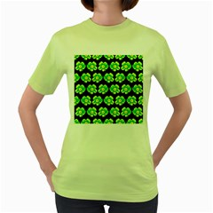 Green Yellow Flower Pattern On Dark Green Women s Green T-Shirt