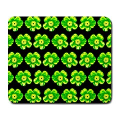 Green Yellow Flower Pattern On Dark Green Large Mousepads