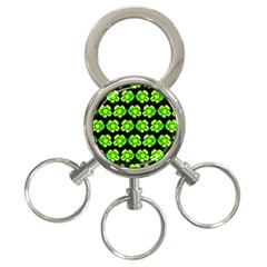 Green Yellow Flower Pattern On Dark Green 3-Ring Key Chains