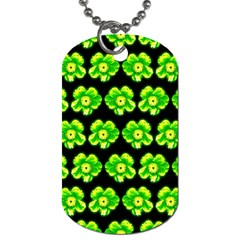 Green Yellow Flower Pattern On Dark Green Dog Tag (Two Sides)