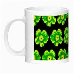 Green Yellow Flower Pattern On Dark Green Night Luminous Mugs