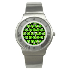 Green Yellow Flower Pattern On Dark Green Stainless Steel Watch