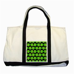 Green Yellow Flower Pattern On Dark Green Two Tone Tote Bag