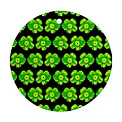 Green Yellow Flower Pattern On Dark Green Round Ornament (Two Sides)