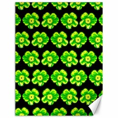 Green Yellow Flower Pattern On Dark Green Canvas 12  x 16