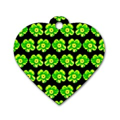 Green Yellow Flower Pattern On Dark Green Dog Tag Heart (One Side)