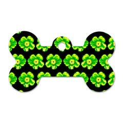Green Yellow Flower Pattern On Dark Green Dog Tag Bone (Two Sides)