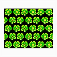 Green Yellow Flower Pattern On Dark Green Small Glasses Cloth (2-Side)