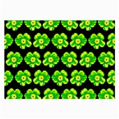 Green Yellow Flower Pattern On Dark Green Large Glasses Cloth (2-Side)