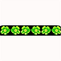 Green Yellow Flower Pattern On Dark Green Small Bar Mats