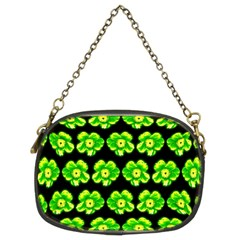 Green Yellow Flower Pattern On Dark Green Chain Purses (Two Sides)
