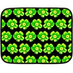 Green Yellow Flower Pattern On Dark Green Double Sided Fleece Blanket (Mini)
