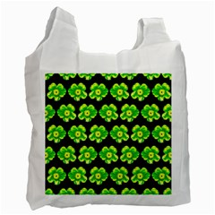 Green Yellow Flower Pattern On Dark Green Recycle Bag (One Side)