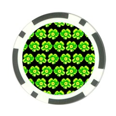 Green Yellow Flower Pattern On Dark Green Poker Chip Card Guards (10 pack)
