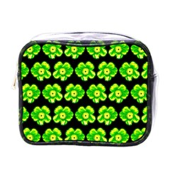 Green Yellow Flower Pattern On Dark Green Mini Toiletries Bags