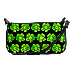 Green Yellow Flower Pattern On Dark Green Shoulder Clutch Bags