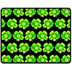 Green Yellow Flower Pattern On Dark Green Fleece Blanket (Medium)