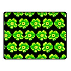 Green Yellow Flower Pattern On Dark Green Fleece Blanket (Small)