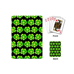 Green Yellow Flower Pattern On Dark Green Playing Cards (Mini)