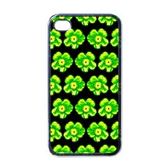 Green Yellow Flower Pattern On Dark Green Apple iPhone 4 Case (Black)