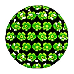 Green Yellow Flower Pattern On Dark Green Round Filigree Ornament (2Side)