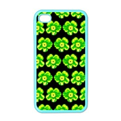 Green Yellow Flower Pattern On Dark Green Apple iPhone 4 Case (Color)