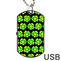 Green Yellow Flower Pattern On Dark Green Dog Tag USB Flash (One Side)