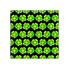 Green Yellow Flower Pattern On Dark Green Acrylic Tangram Puzzle (4  x 4 )