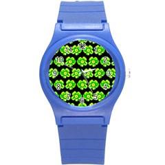 Green Yellow Flower Pattern On Dark Green Round Plastic Sport Watch (S)