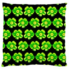 Green Yellow Flower Pattern On Dark Green Large Cushion Case (Two Sides)