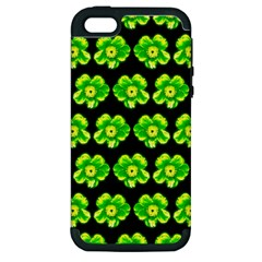 Green Yellow Flower Pattern On Dark Green Apple iPhone 5 Hardshell Case (PC+Silicone)
